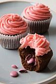 Pink smartie cupcake