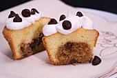 Chocolate chip cookie dough filled cupcake, cut in half