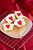 Heart-shaped filled cupcakes