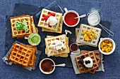 An assortment of sweet and savoury waffles