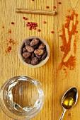 Ingredients for xocolatl (hot chocolate)