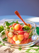 Melon salad with mozzarella and tomato vinaigrette