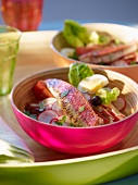 A salad of red mullet with radish and egg