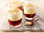 Cherry trifle with sliced almonds