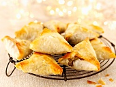 Pastry parcels filled with mushrooms and cheese, for Christmas