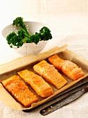 Salmon fillets and tenderstem broccoli
