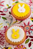 Cupcakes decorated with little hares for Easter