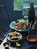 Barbecued quail with a lemon & pepper dipping sauce