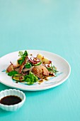 Peach and duck salad