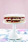 Hazelnut torte with red berries