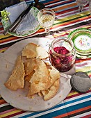Lavash crackers with a beetroot dip