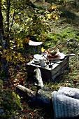Geschirr auf umgedrehten Holzkisten und Baumstamm mit Decke als Lagerplatz auf sonnigem Waldstück