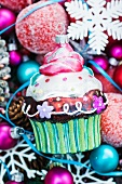 Bauble cupcake on Christmas decorations