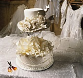 White Hat Wedding Cake with a Wedding Dress in the Background
