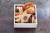 Assorted biscuits in a small wooden box