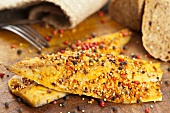 Smoked mackerel fillet (North Atlantic) spiced with pepper, paprika and mustard seeds