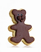 A vanilla and chocolate biscuit in the shape of a bear
