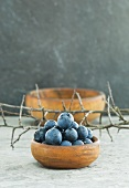 Sloes in a wooden bowl