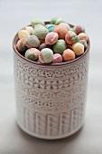 Wasabi peas in a ceramic pot