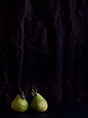 Two pears against a black background