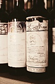 Vintage bottles of Mouton-Rothschild wine