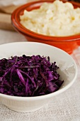 Red cabbage salad and mashed potato