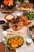 A Thanksgiving menu with roast turkey