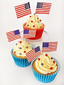 A cupcake decorated with US flags