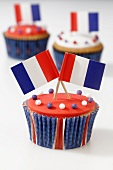 Cupcakes decorated with French flags