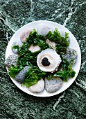 Oyster with caviar and algae