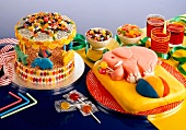 Cakes, sweets and drinks for a children's party
