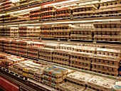 Egg boxes in the chiller at a supermarket (USA)