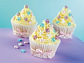 Celebration cupcakes decorated with buttercream and sugar flowers