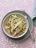 Raw Pear and Apple Salad with Walnuts, Pistachios and Blue Cheese