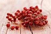 Red peppercorns on the vine