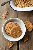 Digestive biscuits and biscuit crumbs