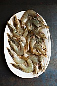 Fresh king prawns on a serving dish