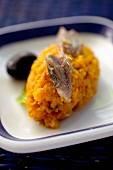 Carrot mousse with cumin, anchovies and olives (Tunisia)