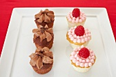 Chocolate caramel cupcakes and raspberry cupcakes