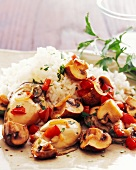 Mussels and Mushrooms with White Rice