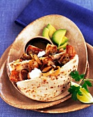 Chicken Shawarma in Pita Bread with Onion and Avocado