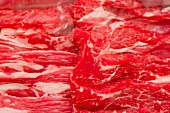 Thinly sliced Wagyu beef (close-up)