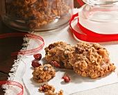 Homemade Oatmeal Cranberry Cookies with Red Ribbon