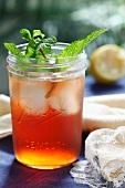 Lemon Iced Tea with Mint in an Old Fashioned Ball Jar