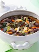 Pichelsteiner (a Bavarian meat stew) in a soup tureen
