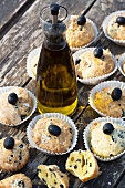 Olive cupcakes and a bottle of Tuscan olive oil
