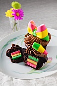 Chocolate Cupcake with Rainbow Cookie Center; One Halved