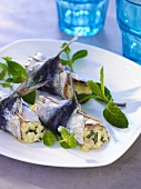 Rolled sardines with cream cheese filling