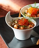 Salmon tartare with salmon caviar and dill