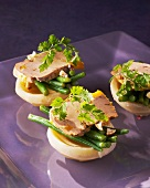 Artichoke hearts with green beans and goose liver